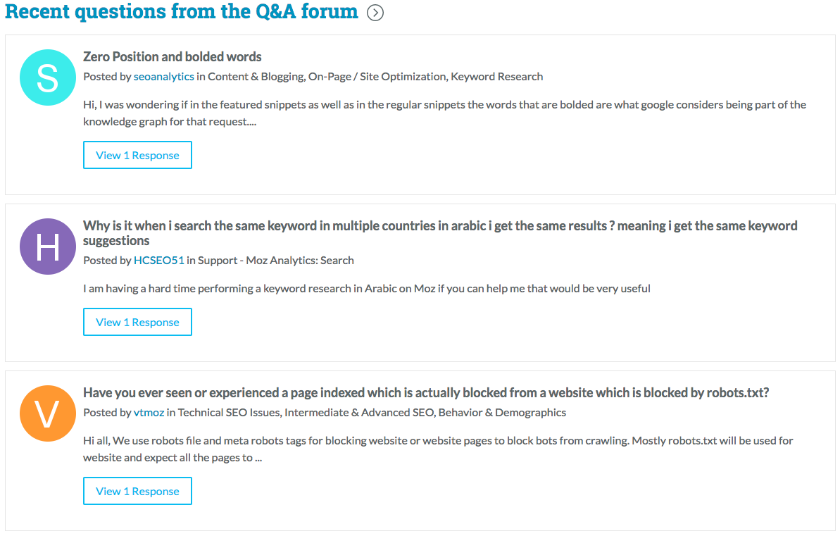 An example of a Q&A forum in Community platforms