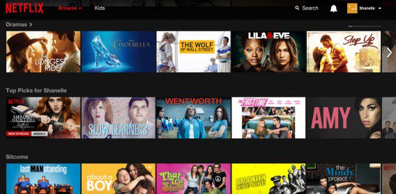 Netflix - home screen