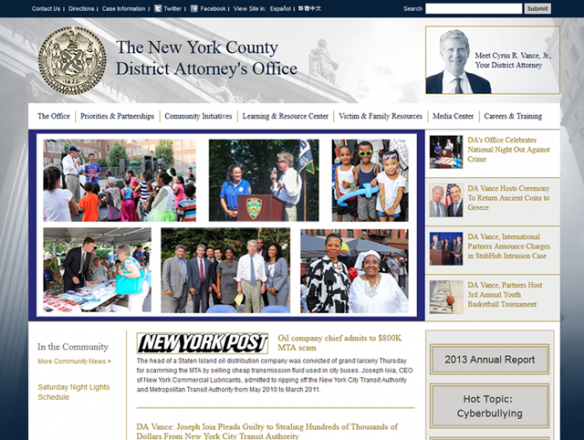 Screenshot of the main page of The New York County District Attorney's Office website