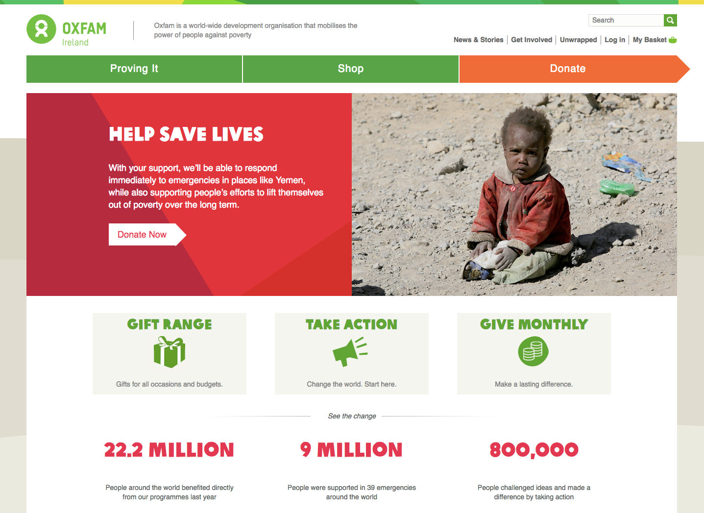homepage of Oxfam Ireland with a picture of a child in centre right, 3 grey blocks below it and text written on them