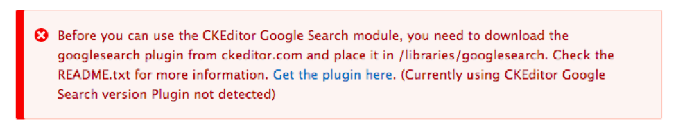 Error message asking for placing the plugin files in the required directory