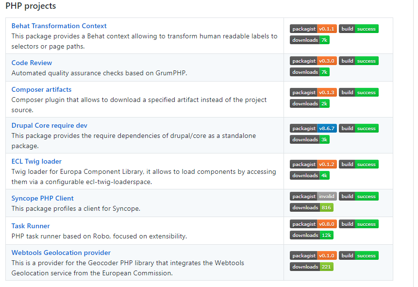 Screenshot of the PHP projects that are under EUL license