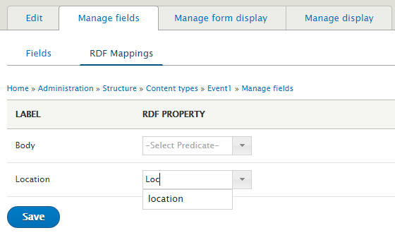 RDF module mapping screenshot