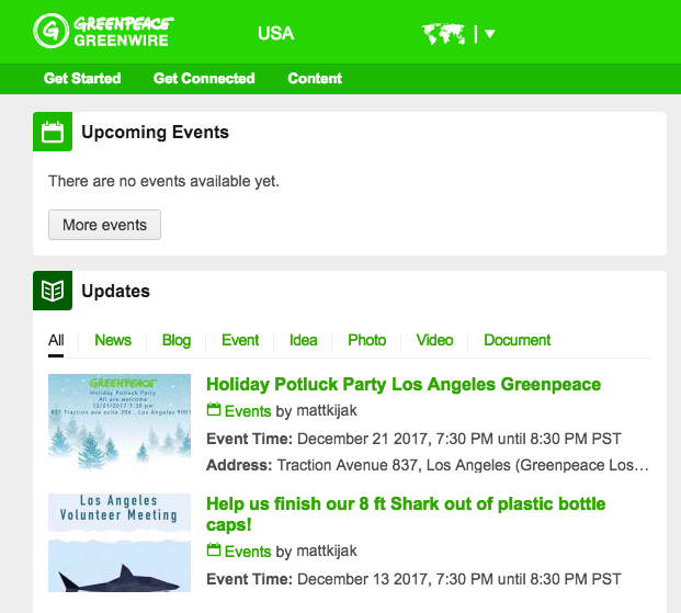 "Greenpeace Greenwire home page with ""news/blogs/events' section"