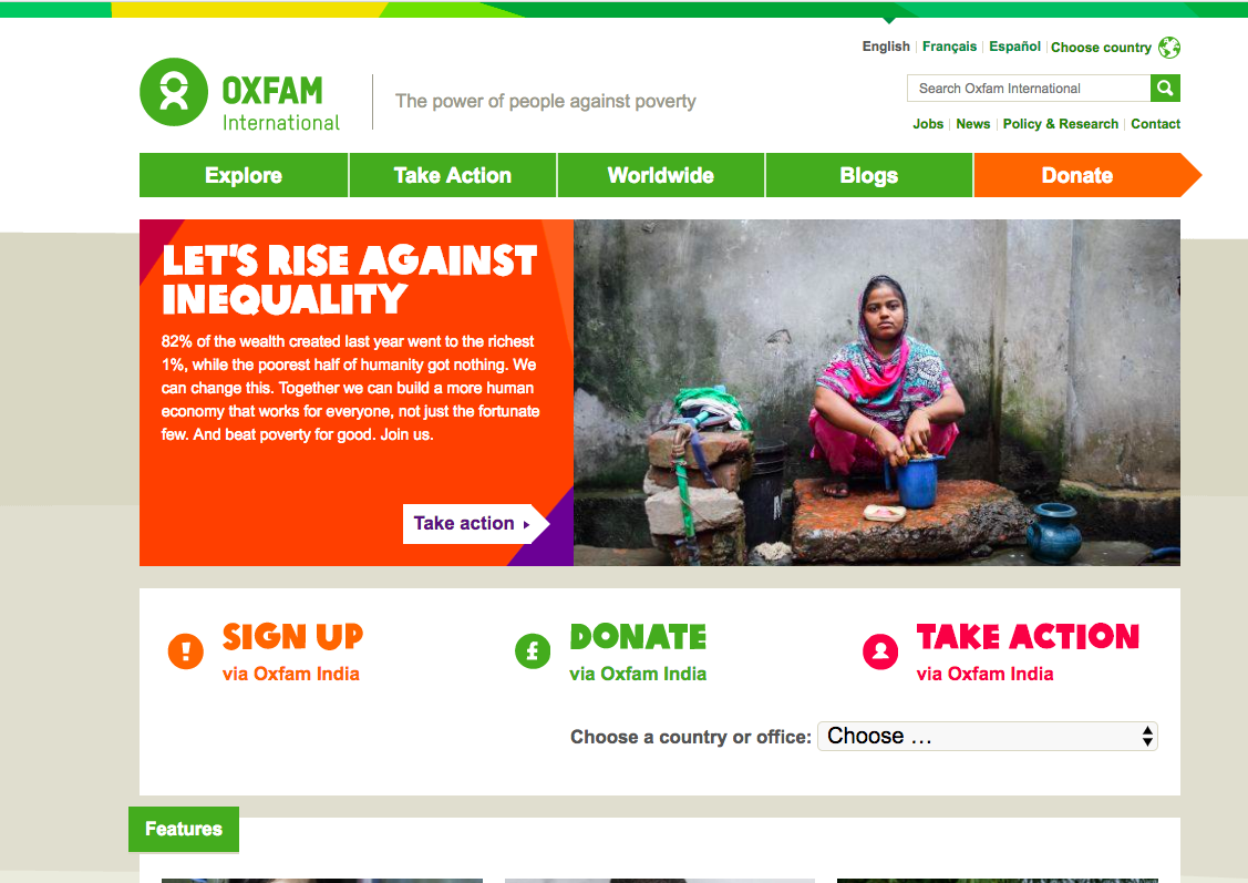 Oxfam India's home page; Oxfam is a Non-profit organization