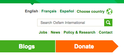 search functionality in Oxfam's homepage