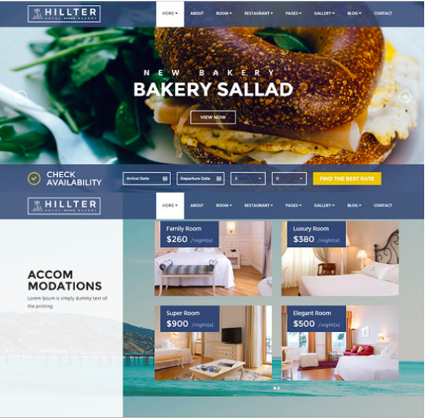 "Premium travel theme; ""Hillter"" Hotel booking Drupal theme"