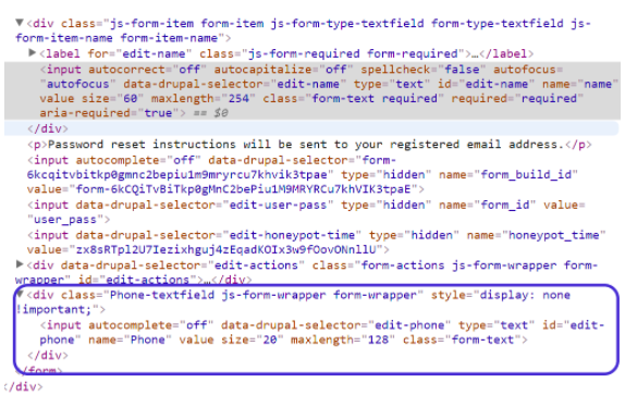 HTML code for the form that is working.