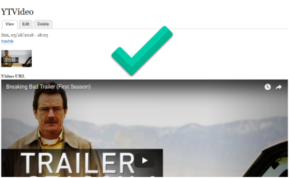 video preview of 'Breaking Bad' after the URL has been added.