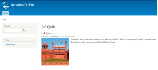 basic profile before adding the blazy module; the image of red fort on the left side of the page