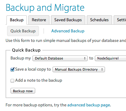 saving the configurations in the backup module