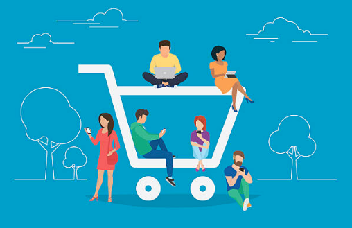An illustration showing a shopping cart and 6 people sitting or standing in and around it using their phone or laptop