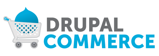 Logo of Drupal Commerce showing a shopping cart and Drupal Commerce written on right