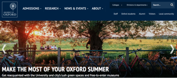 Homepage of Oxford University