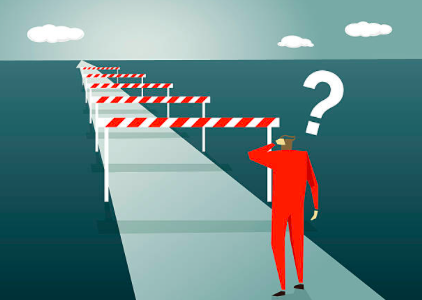 Illustration showing a man standing and a lot of obstacles ahead of him