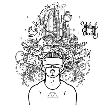 Illustration showing a man wearing virtual reality headset with graphical icons hovering over his head and virtual reality with at the top