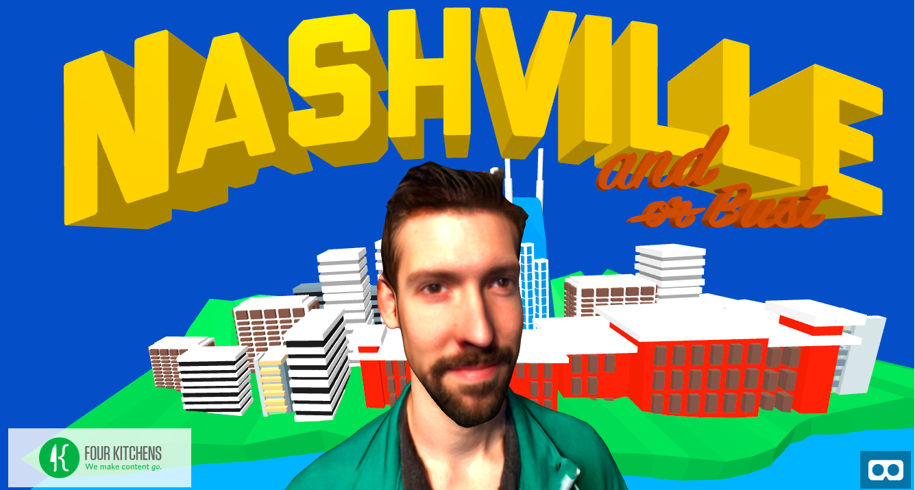 Illustration during a man with buildings the background and 'Nashville and Bust' written at the top