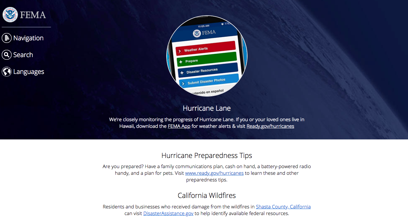 Homepage of Federal Emergency Management Agency with an image of a smartphone showing the different options