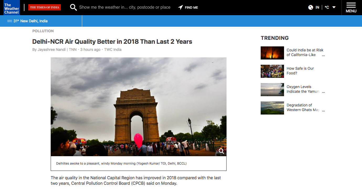 Homepage of The Weather Channel with the image of India Gate in New Delhi
