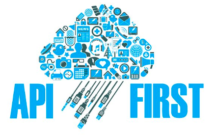 Illustration showing a cloud shaped graphical icon and the word API First written below it