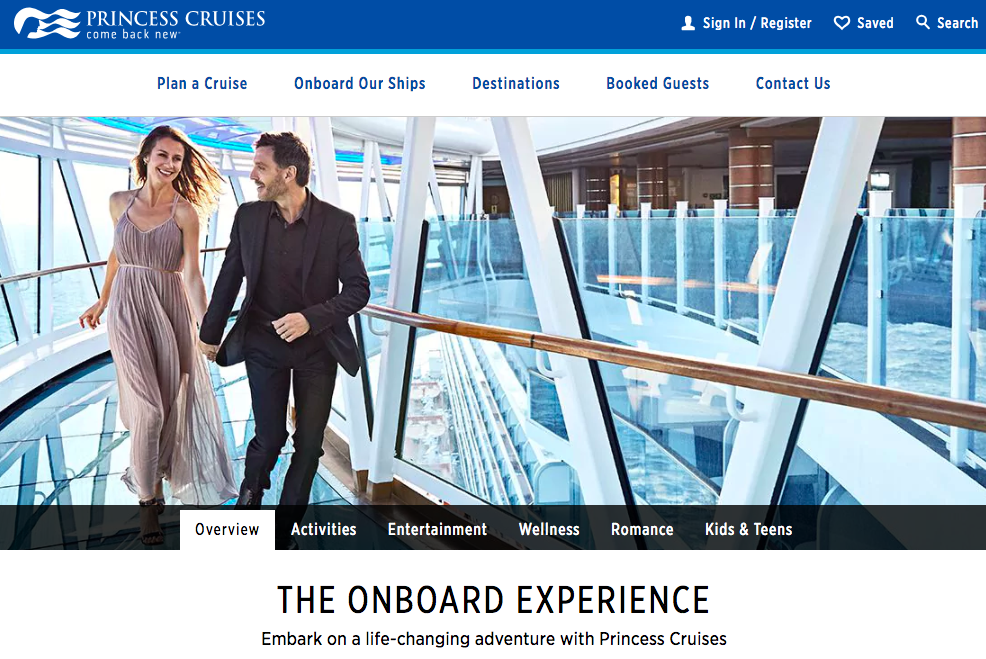 Homepage of Princess Cruises with a couple strolling around a ship