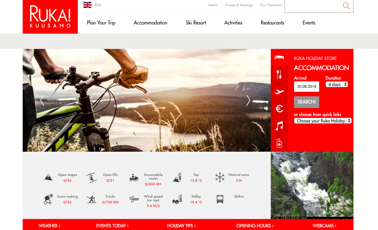 Homepage of Ruka with an image of a bicycle near a river