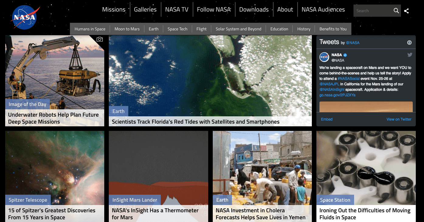 Homepage of NASA with images of earth from space and other space objects