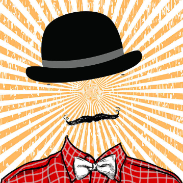 Illustration showing a headless man wearing red checkered shirt , bow tie, and a hat