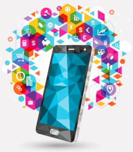 Illustration showing a smartphone and several icons representing mobile application development tools