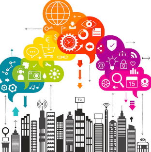 Illustration showing cloud-shaped icons and buildings