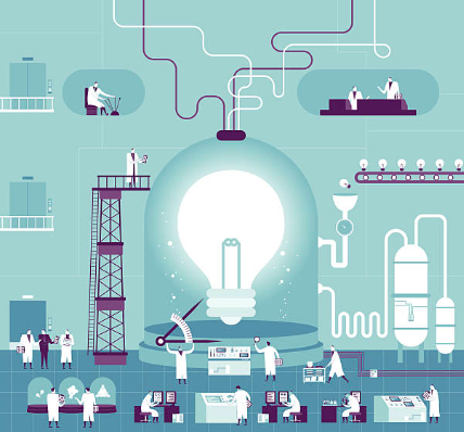Illustration representing macro trends in technology with a giant bulb and a lot of people working around it