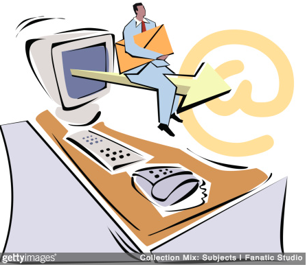 Illustration showing a man protruding out of a computer with an envelope in his hand