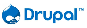 Logo of Drupal with a drop-shaped icon