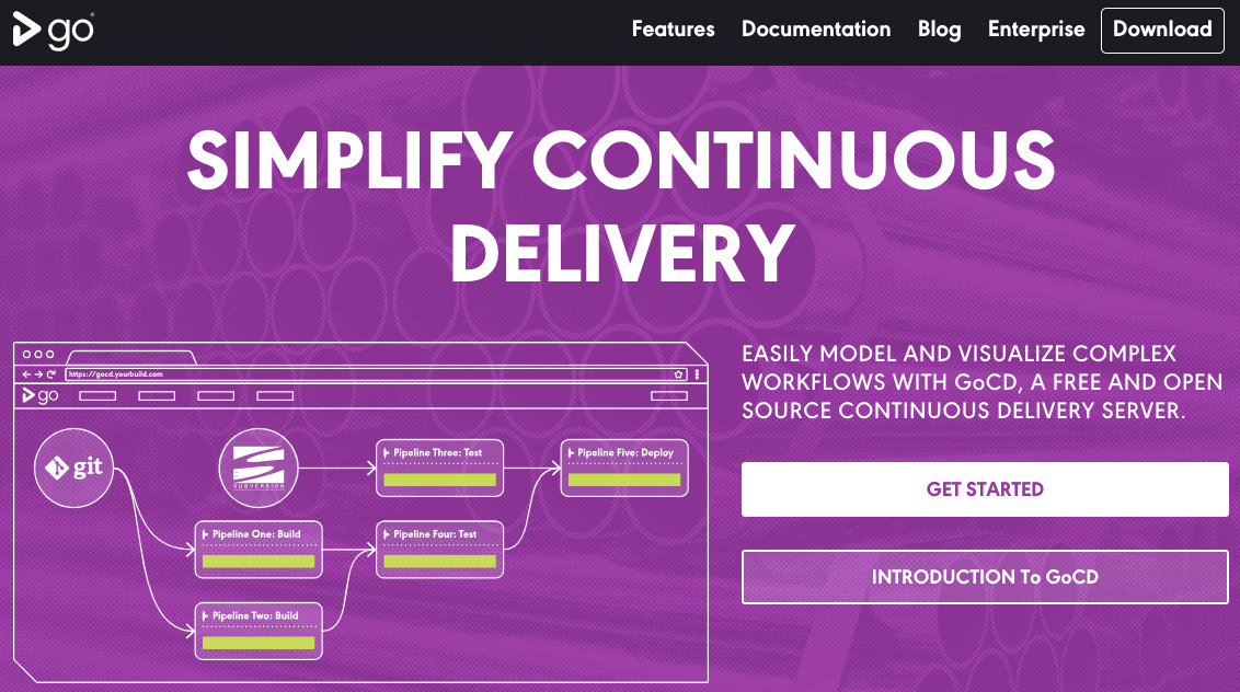 Homepage of Go platform with a flowchart explaining Continuous Delivery practice and 'Simplify Continuous Delivery' written in bold letters on the top on a pink background