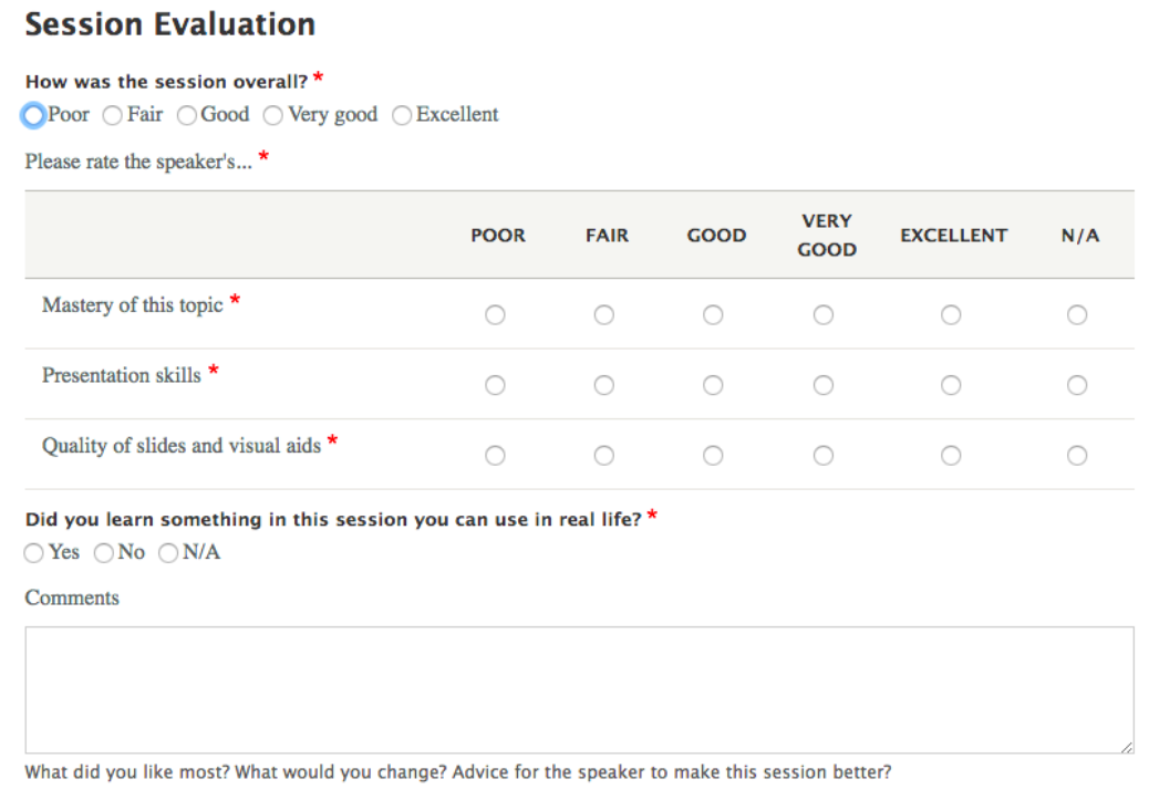 Session evaluation page of yardstick LMS with a set of questions on the left and different options on the right and a blank box at the bottom