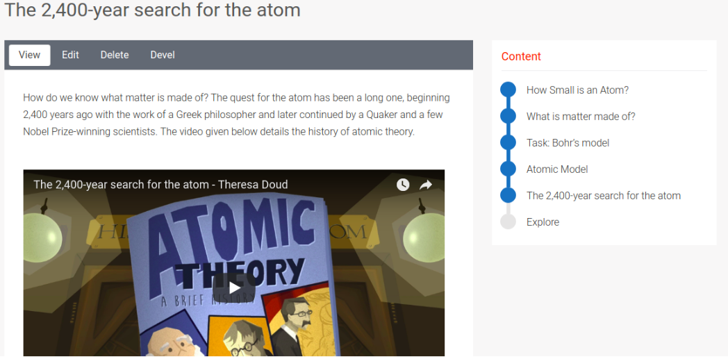 Yardstick LMS real-life application component page with an image showing animated human figures and atomic theory written above them