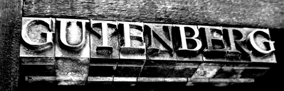 Black and white image with the word 'Gutenberg' written in bold