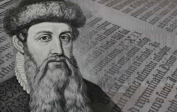 Black and white image of Johannes Gutenberg and written text in the background