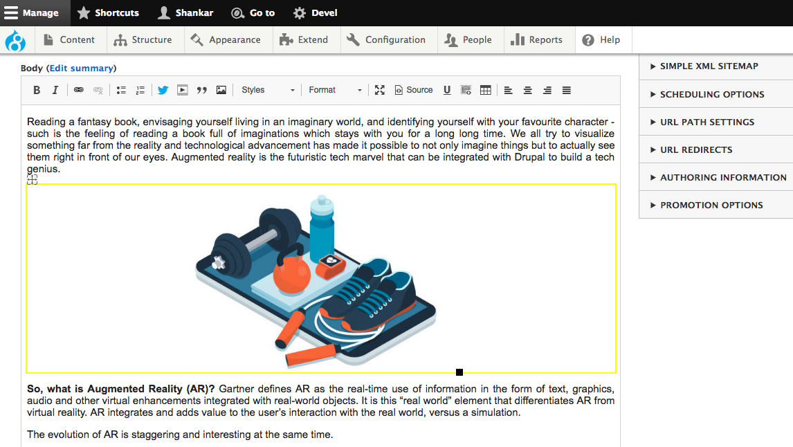 Admin interface of Drupal's CKEditor module in action with an illustration showing a dumbbell, gym rope, pair of shoes, water bottle and a smartwatch kept on a smartphone