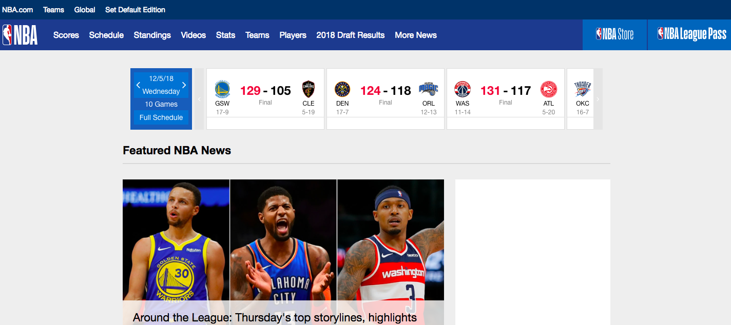 Homepage of NBA with an image of three players wearing blue-yellow, blue-orange, and red-white coloured outfits