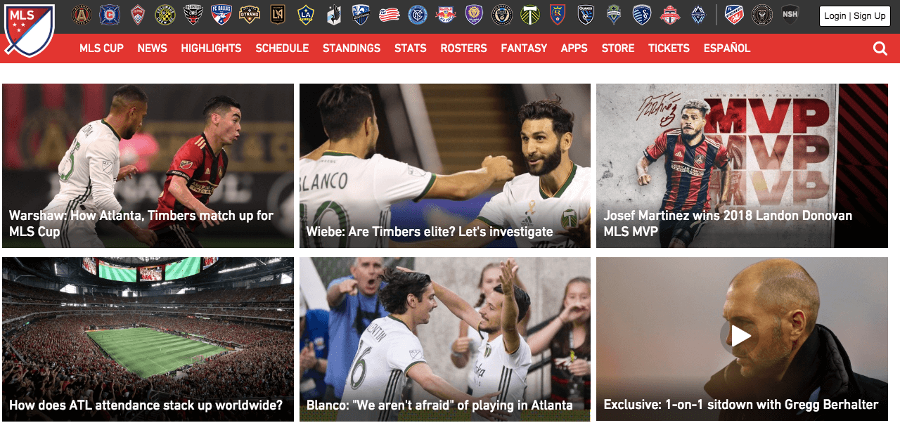 Homepage of Major League Soccer with 6 different images showing players playing football and jam-packed football stadium