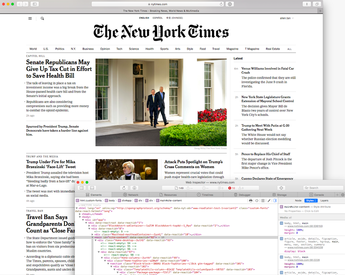 Home page of The New York Times with a box containing code snippet at the bottom