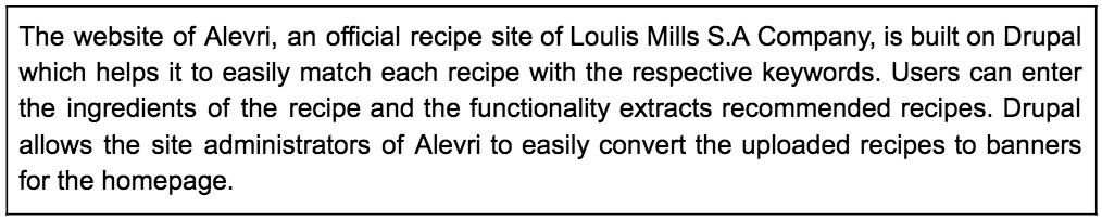 Description about Alevri Drupal Food website in a box
