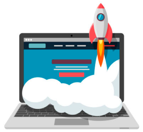 An illustration showing a laptop and a rocket taking off with smoke billowing out its rear end