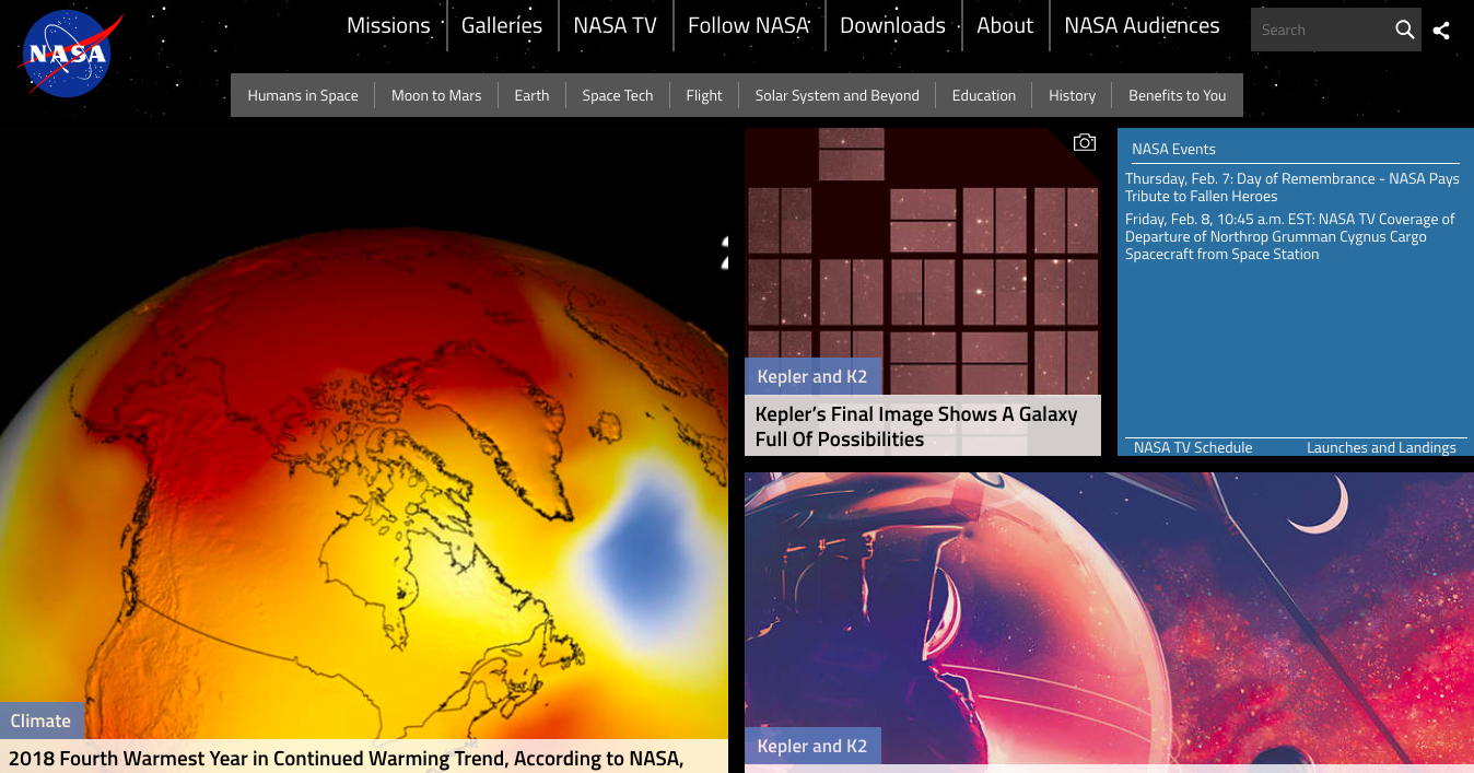 Homepage of NASA showing images of planets in space