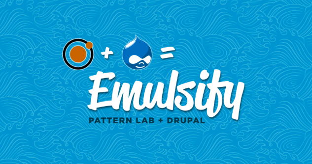 Logo of Pattern Lab and Drupal = 'Emulsify' on a blue background