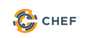 Logo in orange and black cirlcles and text Chef on the right