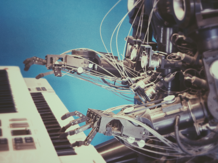 A robot playing piano