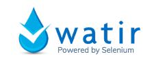 Logo in blue drop and text 'watir' on right