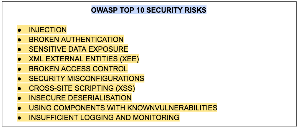 A heading and bullet points below it to explain security constraints of Open Web application security project
